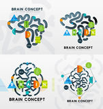 Brain minimal line style infographic banner design Stock Photos