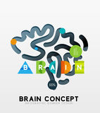 Brain minimal line style infographic banner design Stock Photography
