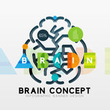 Brain minimal line style infographic banner design Stock Images