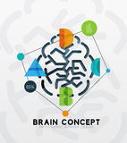 Brain minimal line style infographic banner design Royalty Free Stock Images