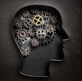 Brain model concept made from gears and cogwheels in metal plate 3d illustration Royalty Free Stock Photo
