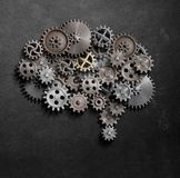 Brain gears and cogs model 3d illustration Stock Images
