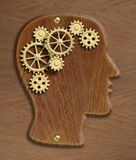 Brain model made from gold metal gears and cogs. Brain wooden model made from gold metal gears and cogs Stock Image