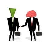 Brain and money. Transaction business. Brain and cash man shake Royalty Free Stock Photos