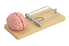 Brain in mousetrap, 3D. Rendering Royalty Free Stock Images