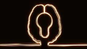 Brain neon lights bulb inside stock footage