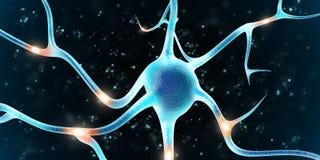 Brain Neuron no fundo preto Foto de Stock Royalty Free