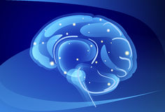 Brain Neurons Activity, Medicine Thinking Intelligence Concept Banner With Copy Space Stock Photo