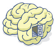 Brain with open back door Royalty Free Stock Image