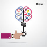 Brain opening concept.Creative brain abstract vector logo design Royalty Free Stock Photography