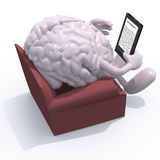 Brain organ reading a electronic book Stock Photography