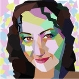 Polygonal geometric portrait of girl. Vector illustration Royalty Free Stock Photo