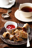 Brain  pancakes with plum jam Stock Photography