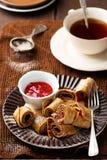 Brain  pancakes with plum jam Stock Image