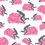Brain pattern seamless. brains background. Man sex on gyrus.  stock illustration