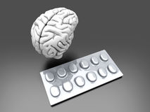 Brain Pills. Some pills for the Brain. Symbolic for Drugs, Psychopharmaceuticals, Nootropics and other Medications. 3d rendered Illustration Stock Photos