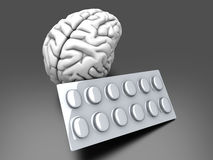 Brain Pills. Some pills for the Brain. Symbolic for Drugs, Psychopharmaceuticals, Nootropics and other Medications. 3d rendered Illustration Royalty Free Stock Photos