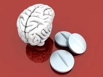 Brain Pills. Some pills for the Brain. Symbolic for Drugs, Psychopharmaceuticals, Nootropics and other Medications. 3d rendered Illustration Royalty Free Stock Photo