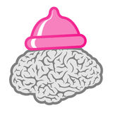 Brain with pink condom hat Royalty Free Stock Photo