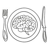 Brain on a plate.  Stock Photo