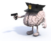 Brain with police cop and gun on hand Royalty Free Stock Image