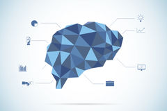 Brain Polygon with Business icons Stock Image