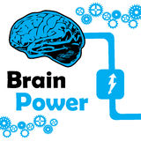 Brain power. Abstract colorful background with connected brain and blue gears. Brain power concept Stock Image