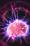 Brain power concept with abstract light rays Royalty Free Stock Images