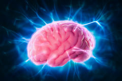 Brain power concept with abstract light rays Stock Photos