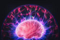Brain power concept with abstract light rays Royalty Free Stock Image