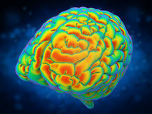 Brain power concept. With 3d rendering shiny human brain Royalty Free Stock Photo