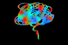 The brain power concept style on dark background. Brain power concept style dark background think human logo colors design graphic light bright cells creative vector illustration