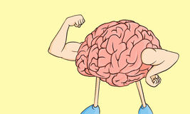 Brain power !. Brain power illustration with big strong hand and yellow background Stock Photo