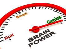 Brain power meter. Measurement of mental stamina or brain power level, showing dull, smart or genius on an oval car like dial, with needle going past genius Stock Images