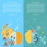 Brain power of the mind left and right hemisphere. Creativity art and analytical thinking vector banners Stock Image