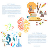 Brain power of the mind left and right hemisphere. Science and art education vector banners Stock Image