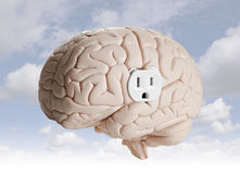 Brain power. Brain model with an electrical outlet Royalty Free Stock Images