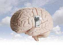 Brain power. Brain model with a light switch Stock Image