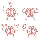 Brain power set. Brain power training vector illustration set Royalty Free Stock Photos