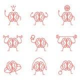 Brain power set. Training vector illustration. Powerful intelligence health cardio sports gymnastic exercises Royalty Free Stock Photos