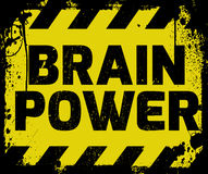 Brain Power sign. Yellow with stripes, road sign variation. Bright vivid sign with warning message Royalty Free Stock Photos