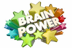 Brain Power Smarts Intelligence IQ Words Stars. 3d Illustration Stock Photography