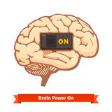 Brain power switch on. Strong mind concept. Flat vector icon Royalty Free Stock Image