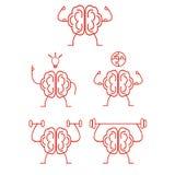 Brain power training. Vector illustration set Royalty Free Stock Photography