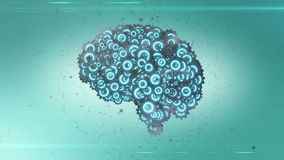 Brain power. Video cartoon illustration of a large number of cog wheels floating around in a pale blue atmosphere and coming together to form a brain shaped royalty free illustration