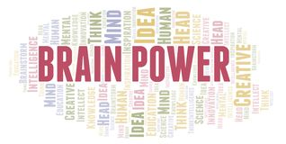 Brain Power word cloud. Wordcloud made with text only royalty free illustration