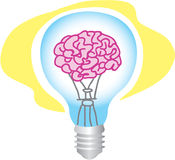 Brain powered bulb Stock Images