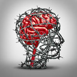 Brain Protection. Concept and protecting the mind icon as a mental health medicine idea with a human thinking organ protected by barbed metal wire shaped as a Stock Photo