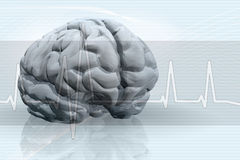 Brain Pulse Background. An illustrated blue medical background with a sawtooth waveform showing the strength of brain activity Stock Image