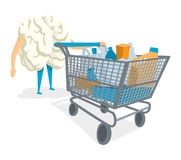 Brain pushing a shopping cart Stock Images